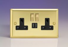 Varilight 2-Gang 13A Double Pole Socket with Metal Rockers +2 5V DC 2100mA USB Ports Victorian Brass